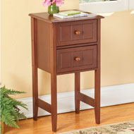 Vintage Wooden Two-Drawer Side Table - 45827