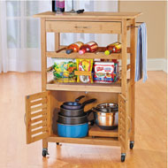 Bamboo Kitchen Trolley and Bar Cart with Wine Rack - 45830