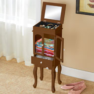 Velvet-Lined Jewelry and Storage Cabinet - 45835