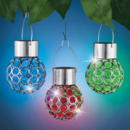 Crystalline Hanging Solar Lights - Set of 3 - 45874