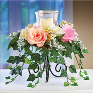 Roses with Cascading Ivy Candle Holder Centerpiece - 45890