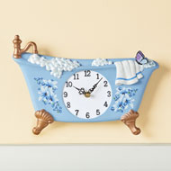 Blue Butterfly Bathtub Shaped Wall Clock - 45902