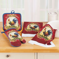 Rooster Kitchen Towel, Pot Holder and Oven Mitt Set - 45906