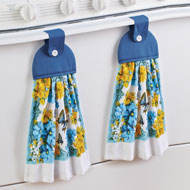 Butterfly Kitchen Towels with Tab Tops - Set of 2 - 45907