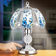 Blue Songbird and Flower Garden Touch Lamp
