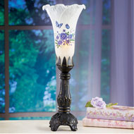 Lavender Floral and Butterfly Lamp with Antique Base - 45920