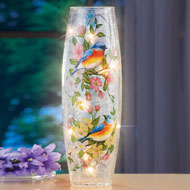 Blue Birds Floral Glass Hurricane Lamp - 45923