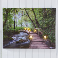 Lighted Bridge in Forest Canvas Wall Art - 45939