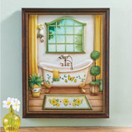 3D Daisy and Butterfly Bathroom Wall Art - 45943