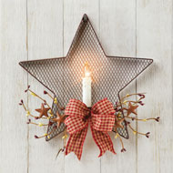 Country Candle and Mesh Star Wall Art - 45949