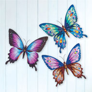 Colorful Butterfly Metal Wall Art - Set of 3 - 45975