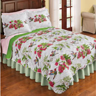 Reversible Hummingbird Flower Print Quilt - 45981