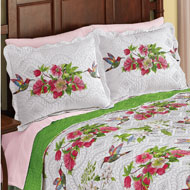 Reversible Hummingbird Flower Print Pillow Sham - 45982