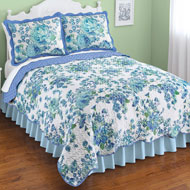 Lovely Blue and Green Floral Garden Quilt - 45983