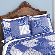 Cottage Escape Blue Floral Patchwork Pillow Sham - 46234
