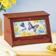 Vintage Style Wooden Bread Box with Butterfly Design