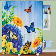 Blue and Yellow Butterfly Gardens Shower Curtain - 46244
