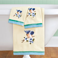 Bird Embroidered Towels with Ribbon Trim - Set of 3 - 46247