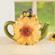 Sunflower and Butterfly Hand-Painted Teapot - 46253