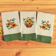 Woven Sunflower Towels - Set of 3 - 46254