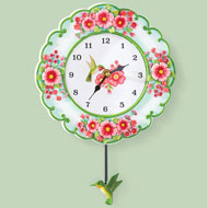 Hummingbird and Garden Wall Clock with Pendulum - 46260