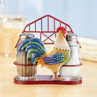 Barn Rooster Salt and Pepper Shakers - Set of 2 - 46263