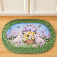 Bunny Oval Braided Kitchen Rug Easter Decoration - 46273