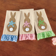 Ruffle Trim Bunny Easter Kitchen Towels - Set of 3 - 46274