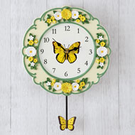 Yellow Butterfly & Daisy Pendulum Wall Clock - 46277