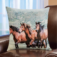 Galloping Horses Scene Accent Pillow - 46295