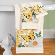 Daisy and Butterfly Cotton Bathroom Towels - Set of 3