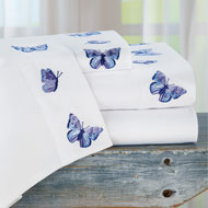 Blue and Lavender Butterfly Embroidered Sheet Set - 46312