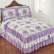 Country Purple Floral 3-Tier Ruffled Bedspread