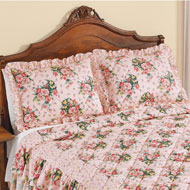 Pink Rose Trellis Ruffled Pillow Shams - 46321