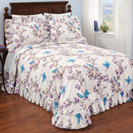 Lilac and Bluebird Ruffled Bedspread - 46325