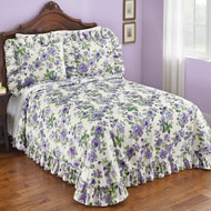 Anna Plisse Purple Floral Ruffled Bedspread
