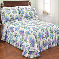 Birds and Butterflies Floral Ruffled Bedspread - 46329
