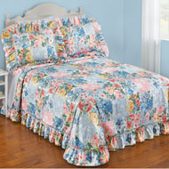 Abigail Plisse Floral Patchwork Ruffled Bedspread - 46331