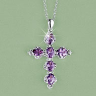 Pastel Crystal Cross Silver-tone Pendant Necklace - 46343