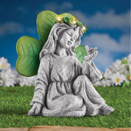 Solar Irish Angel and Shamrock Garden Stone Statue - 46355