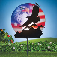 Solar Patriotic Bald Eagle Scene Yard Stake - 46366