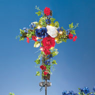 Solar Patriotic Cross Yard Stake - 46370