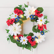 Lighted Patriotic Blossoms Wreath - 46371