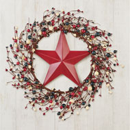Patriotic Berries with Country Barn Star Wreath - 46372