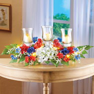 Lighted Patriotic Floral Tabletop Centerpiece - 46373