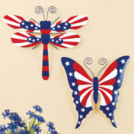 Patriotic Dragonfly and Butterfly Wall Decor - Set of 2 - 46381