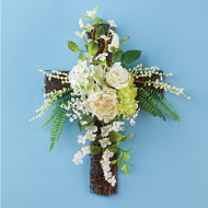 Floral Accented Rattan Cross Wall Art - 46392