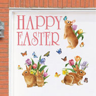 Happy Easter and Bunnies Garage Magnet