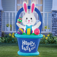 Inflatable Easter Bunny Basket Yard Decoration - 46404