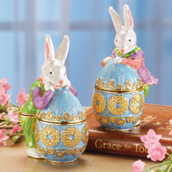 Easter Bunny and Egg Trinket Boxes - 46408